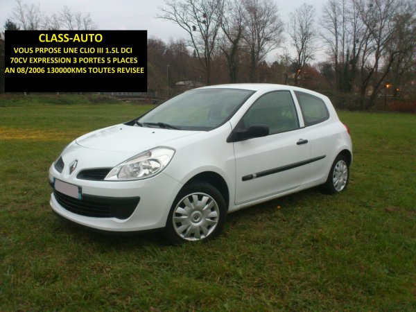 renault clio iii 1 5l dci expression 5 places 3 portes an 08 2006 130000kms vendu le 04 12 2012. Black Bedroom Furniture Sets. Home Design Ideas