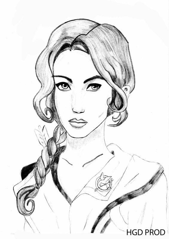 Portrait De Katniss Everdeen Noir Blanc Hungergamesdraw