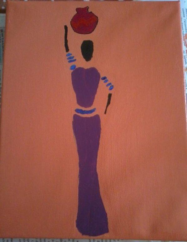 tableau femme africaine creations vitrines miniatures. Black Bedroom Furniture Sets. Home Design Ideas