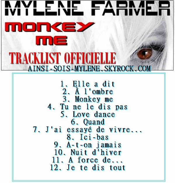 Tracklist Monkey Me