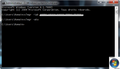 Astuce Windows 7, Vista, XP Changer sa cl� d'activation via l'invite de commandes