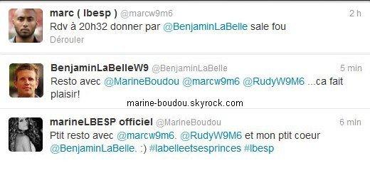 """22.o5.12 Sortie restau'Hier soir, le lundi 21 Mai 2012, Marine, Ben et quelques autres anciens-candidats de #LBESP sont sortis mang�s un bout au restaurant. Ils �taient apparemment au """"Paradis du fruit"""", � Paris, d'apr�s un tweet de Rudy. Pleins de photos et de messages ont �t� post�s dans la soir�e, quelle bande de GEEK ! ;-). Il y a donc beaucoup de choses � expliquer, et j'ai essay� d'en donner le maximum. Vos coups de ♥ ?"""