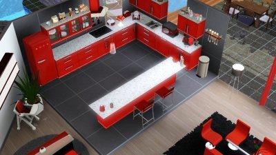 Paradise rdc salon salle manger cuisine wc les for Sims 3 cuisine moderne