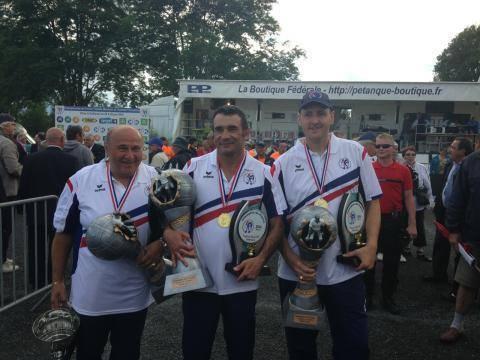 BERLIER STEPHANE ROUQUIE PHILIPPE FERRAND JEAN-MICHEL MIDI PYRENEES ,les champions de France 2014 de pétanque en triplettes.