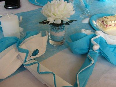D coration de table blanc et bleu turquoise for Decoration de table bleu turquoise