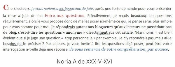 Sur une id�e de moi, un FAQ pour vous. - Noria.A de XXX-V-XVI