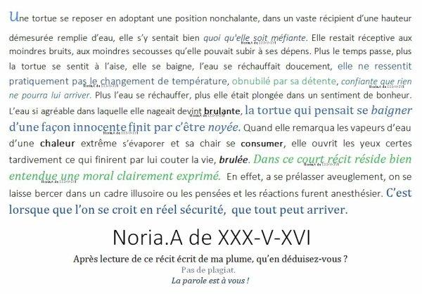 [ Extrait de Texte ] Un r�cit, comportent plusieurs vis�s. Noria.A de XXX-V-XVI