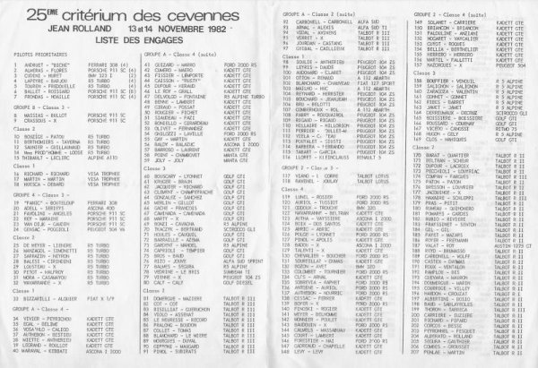 crit rium des c vennes 1982 liste des engag s renault 5 alpine gr2. Black Bedroom Furniture Sets. Home Design Ideas