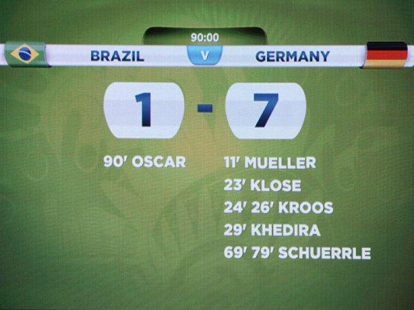 Coupe du monde 2014, Br�sil-Allemagne : 1-7