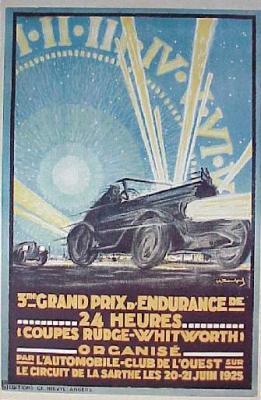 affiche des 24 heures du mans 1925 world endurance series by le mans. Black Bedroom Furniture Sets. Home Design Ideas