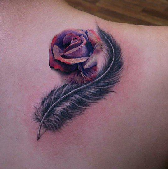 Plume rose tatouage amazone - Tatouage rose avec tige ...