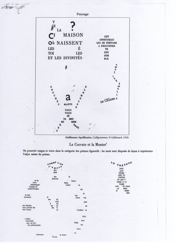Textes compl�mentaires : Calligrammes, Guillaume Apollinaire, extraits