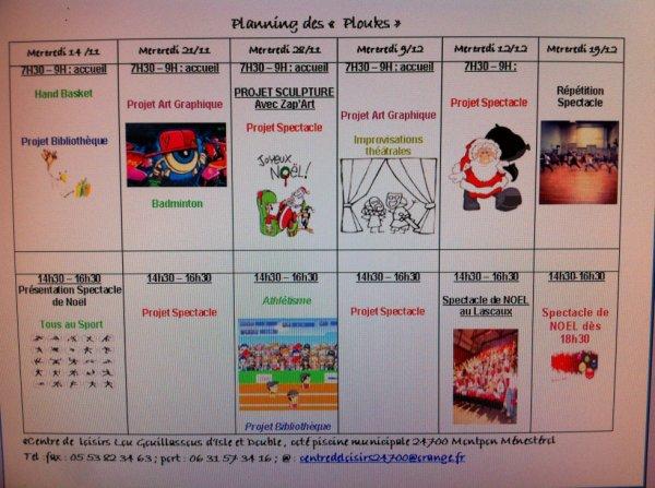 Planning des Plouks (9 ans et +) pour les mois de Novembre et D�cembre.