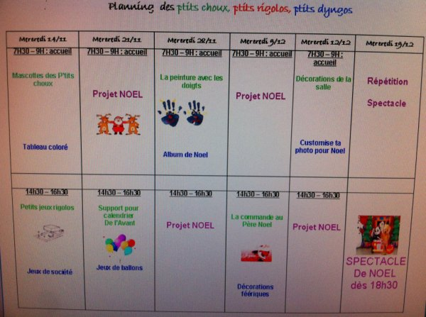 Planning des ptits choux, des ptits rigolos et des ptits dyngos pour les mois de Novembre et D�cembre.
