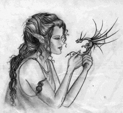 Elfe et son bebe dragon feerique - Dessin elfes et fees ...