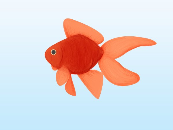 Poisson rouge digital painting for Aquarium poisson rouge dessin