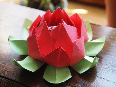 origami fleur de lotus mosa ques en papier praline. Black Bedroom Furniture Sets. Home Design Ideas