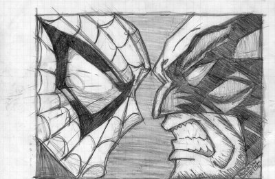 spiderman ou wolverine dessin drawing dibujo. Black Bedroom Furniture Sets. Home Design Ideas