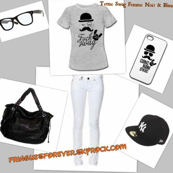 tenue swag femme noir blanc fringuesforever. Black Bedroom Furniture Sets. Home Design Ideas