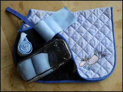 1 tapis bandes bleu ciel poney tout mon materiel d 39 equitation a vendre. Black Bedroom Furniture Sets. Home Design Ideas