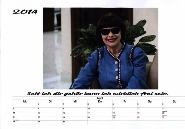 Kalender Mireille Mathieu  April 2014