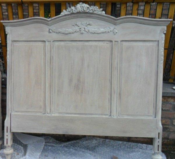 tête de lit en chêne restauré cérusé blanc naturel