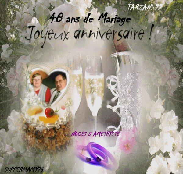 Bon anniversaire de mariage 48 ans kado tarzan599 amour et amitiee - Anniversaire mariage 4 ans ...