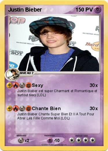 Carte pok mon justin bieber blog de x music kyllian x - La plus forte carte pokemon du monde ...