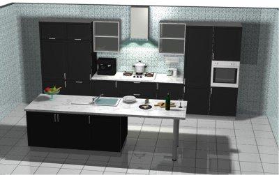 Cuisine finition noir laqu e conception et r alisation for Cuisine noire laquee