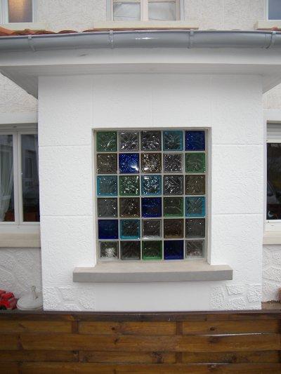 Brique de verre d pose ancienne porte d 39 entr e for Fenetre carreaux de verre