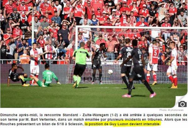 Match arr�t� � Standard - Zulte-Waregem (1-2) !