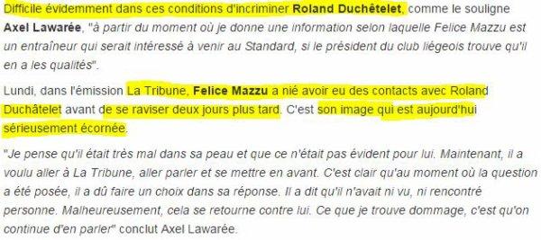 "Lawar�e : ""L'initiative venait de Felice Mazzu"""