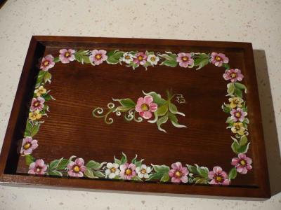 petit plateau en bois exotique peinture sur bois. Black Bedroom Furniture Sets. Home Design Ideas