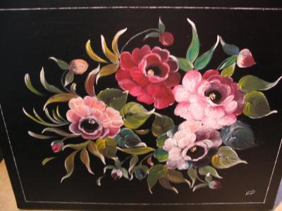 tableau decor roses sur fond noir peinture sur bois. Black Bedroom Furniture Sets. Home Design Ideas