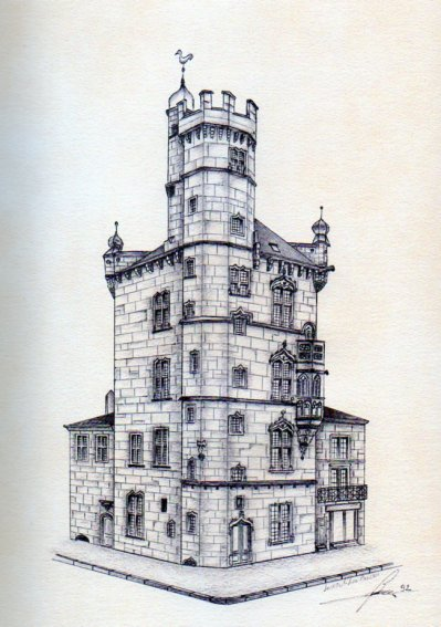 Dessin au stylo à bille, LUXEUIL LES BAINS (70), la tour des Echevins (50 Euros)