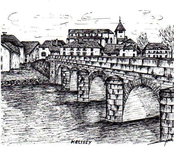 Dessin à l'encre de chine, MELISEY (70), le pont (indisponible)