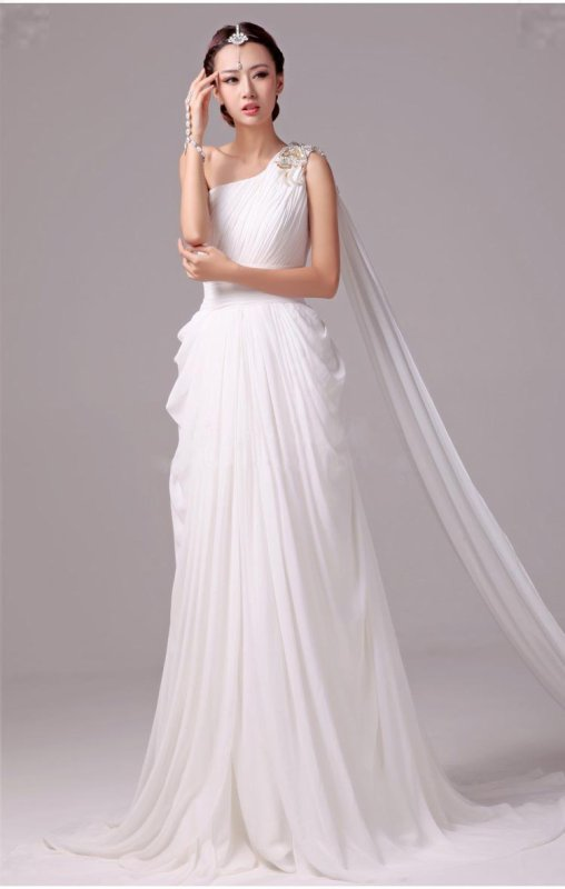 Elegant Greek Goddess Chiffon Beaded One Shoulder Wedding ...