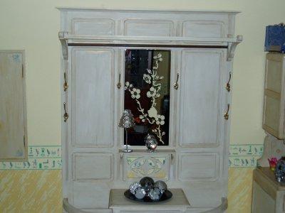 Ancien porte manteaux apr s avec miroir grav la main cr ations serviettage - Porte manteau ancien avec miroir ...