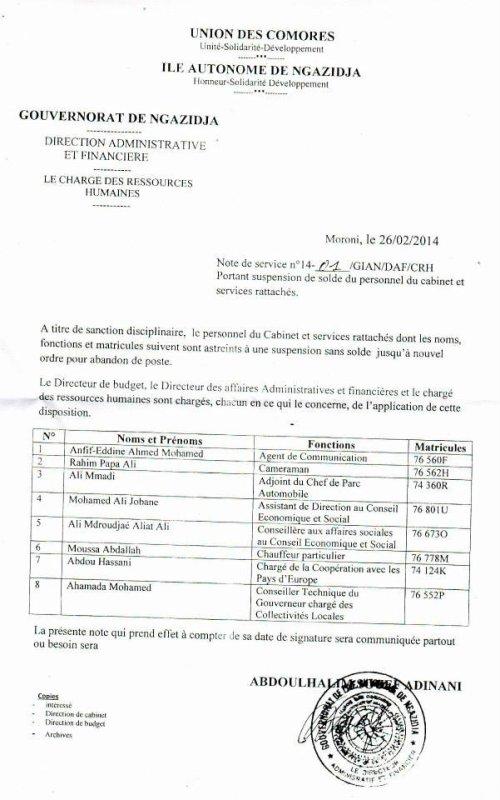 Gouvernorat de Ngazidja : Tous des Moroniens licenciés pour motif abandon de poste .