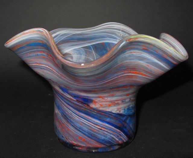 Vase en verre de murano signe av arte vetraria glas glass - Vase plat centre de table ...