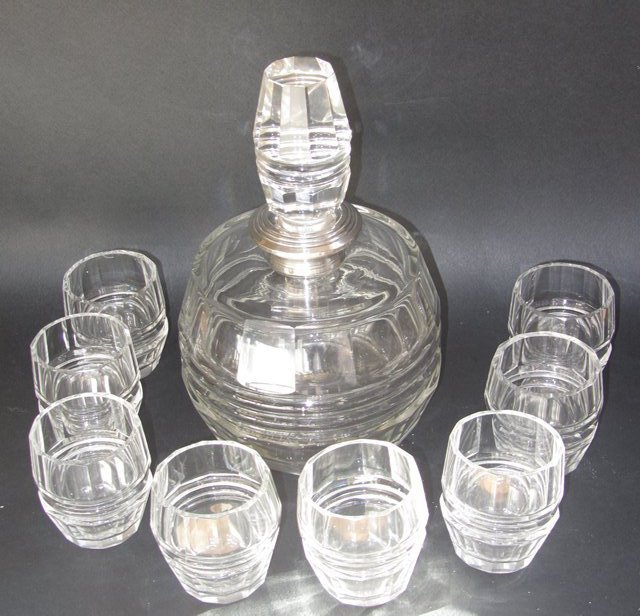 service whisky carafe et 8 verres en cristal art deco boheme sign ebay. Black Bedroom Furniture Sets. Home Design Ideas