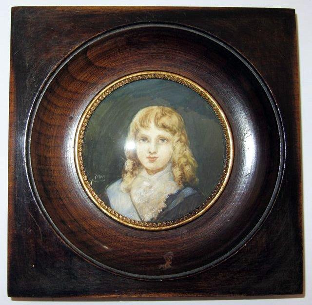 Peinture miniature portrait de jeune homme garcon gar on - Peinture chambre jeune homme ...