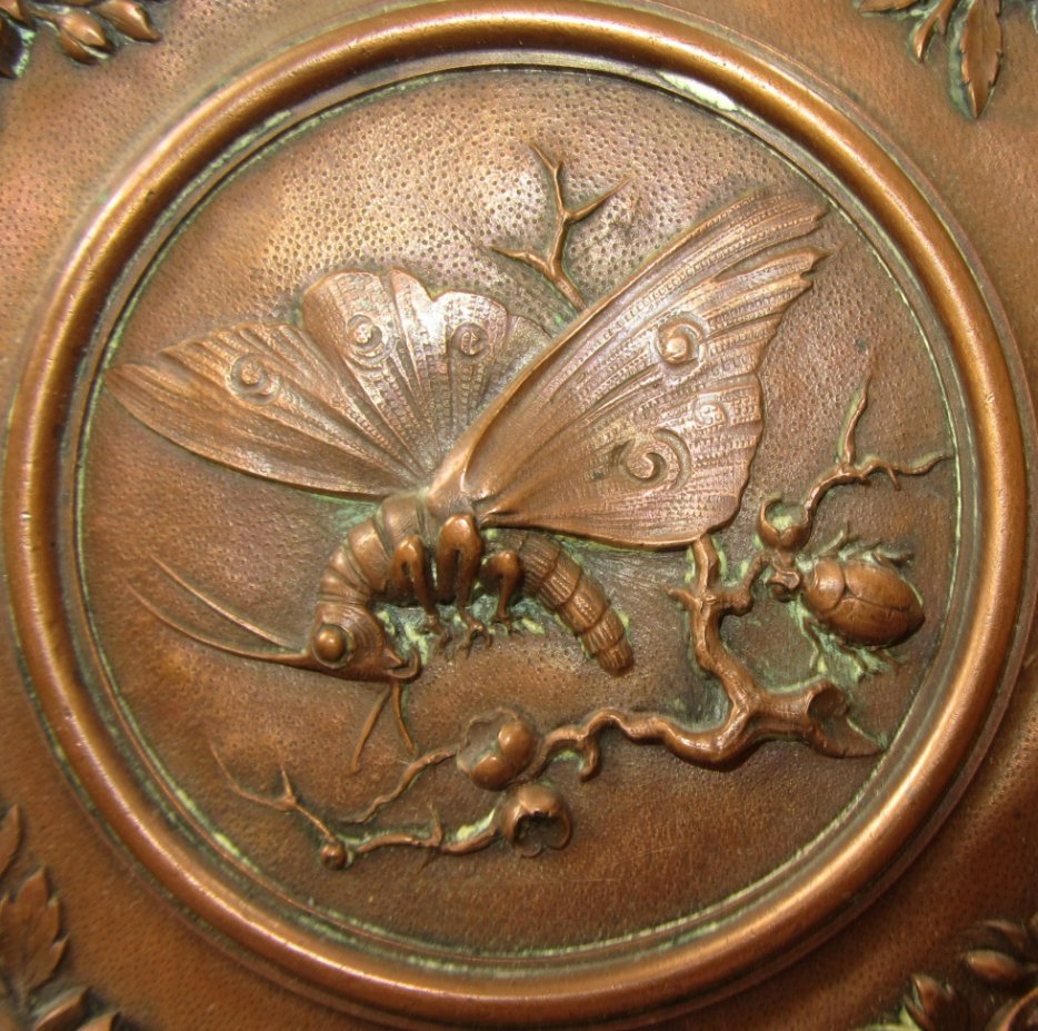 plaque de cuivre a suspendre decor repousse japon chine japanese copper plaque ebay. Black Bedroom Furniture Sets. Home Design Ideas