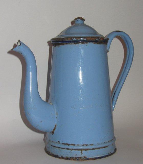 ancienne cafetiere en tole emaillee bleu email vintage french enamel coffee pot ebay. Black Bedroom Furniture Sets. Home Design Ideas