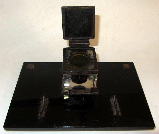 necessaire de bureau ecriture encrier verre noir go t style montblanc. Black Bedroom Furniture Sets. Home Design Ideas