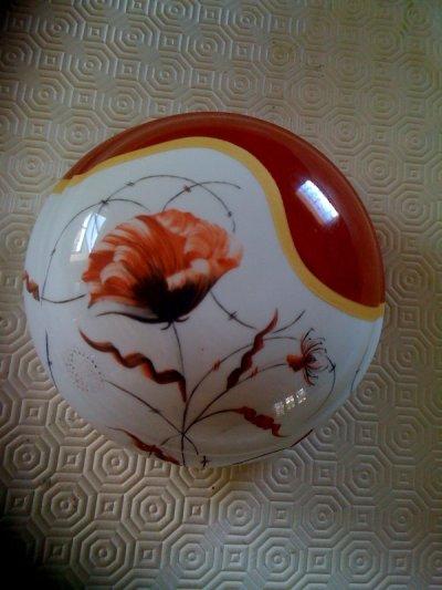 grosse bonbonni re fleur rouge l 39 art de la peinture sur porcelaine. Black Bedroom Furniture Sets. Home Design Ideas