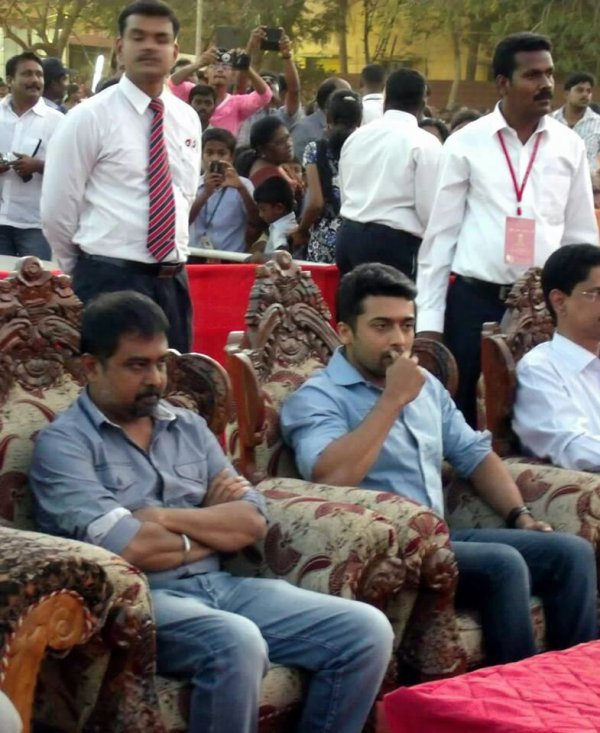 Surya and Lingusamy @ Alpha school trichy