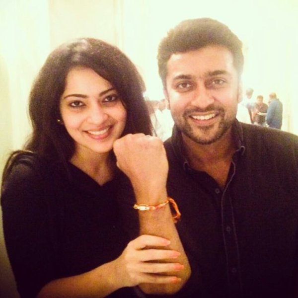 Surya with VJ Ramya at his bday party yesterday