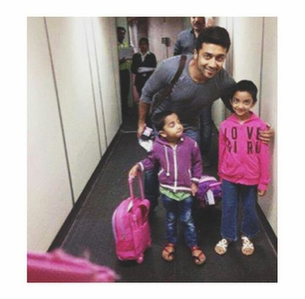 Surya with VJ Manimegazhai and kids