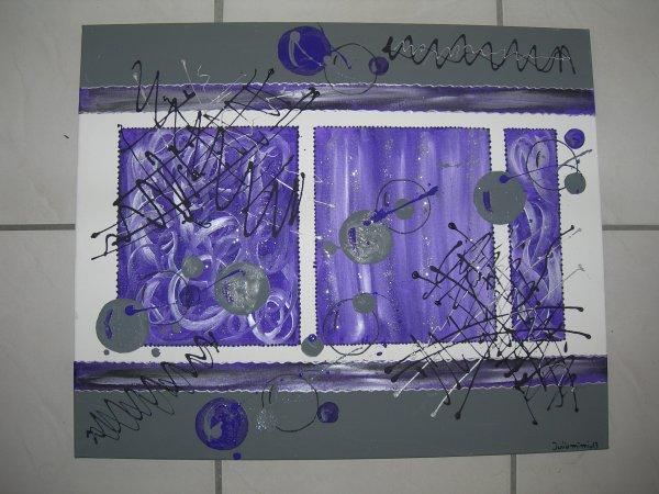 Tableau abstrait noir violet gris blanc dimensions 50x60cm - Tableau noir blanc gris ...